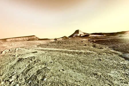nature reserves of israel: Sunset over the Stony Desert in Israel, Vintage Style Toned Picture