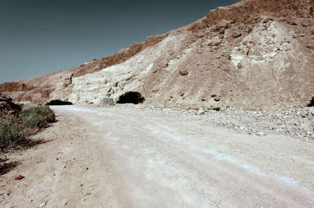 west bank: Road in the Judean Desert on the West Bank, Vintage Style Toned Picture Stock Photo