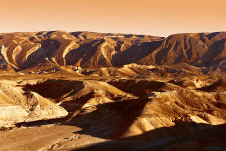 terrain: Rocky Hills of the Negev Desert in Israel, Vintage Style Toned Picture Stock Photo