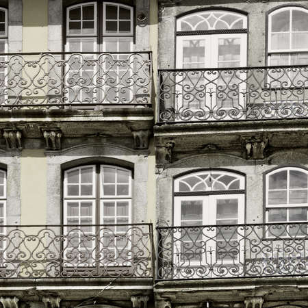 resplendence: Facade of the Old  Portuguese House, Vintage Style Toned Picture