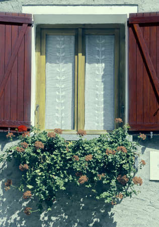 resplendence: Italian Window with Open Wooden Shutters, Decorated With Fresh Flowers