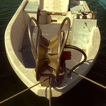 mediterrean: Trawl Winch on the Deck of Fishing Boat, Vintage Style Toned Picture