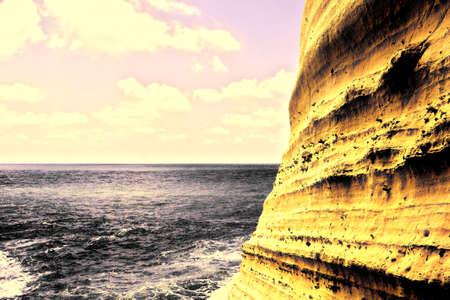 hanikra: Rosh Hanikra Cliff near Israeli- Lebanese Border, Vintage Style Toned Picture