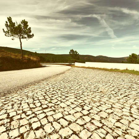 curve road: Mountain Asphalt Road in Portugal, Vintage Style Toned Picture