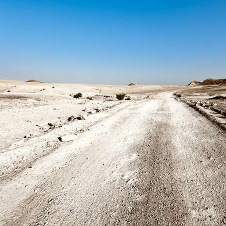 judean hills: Road in Desert on the West Bank of the Jordan River, Vintage Style Toned Picture