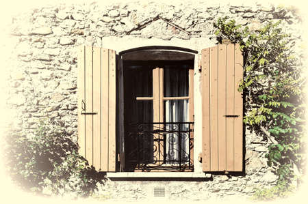 balcony window: French Window with Metal Balcony, Retro Image Filtered Style