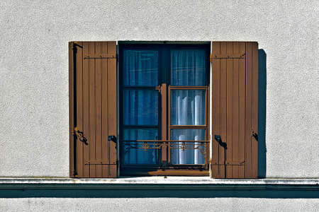 poorness: French Window with Open Wooden Shutter, Vintage Style Toned Picture