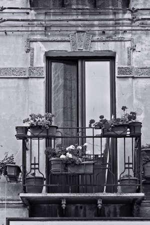 resplendence: Italian Balcony, Decorated With Fresh Flowers, Retro Image Filtered Style