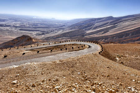 negev: Meandering Road in Sand Hills of Judean Mountains, Israel Stock Photo