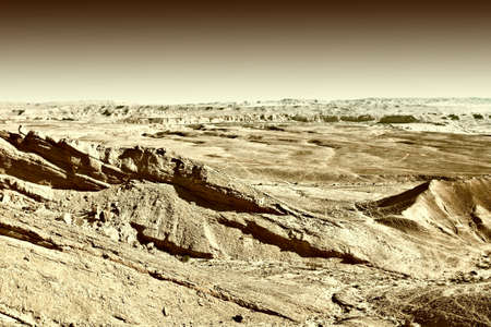 nature reserves of israel: Rocky Hills of the Negev Desert in Israel at Sunset, Vintage Style Toned Picture