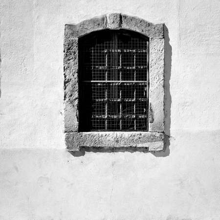 glass house: Window in the Wall of Portuguese Home, Retro Image Filtered Style