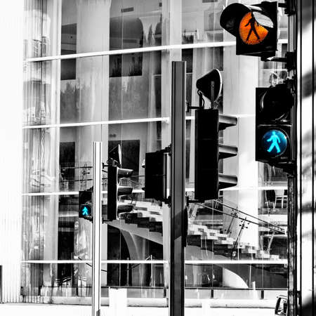 Pedestrian Crossing in Tel Aviv, Israel, Retro Image Filtered Style