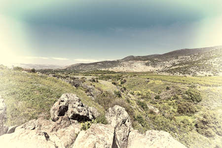 israel farming: Golan Heights in the Spring, Retro Image Filtered Style