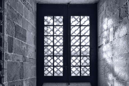 templar: Window in the Templar Church in the Portugal City of Tomar, Retro Image Filtered Style