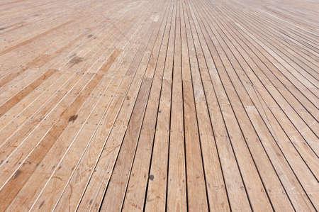 floor covering: Wood Flooring in the Old Port of Tel Aviv Stock Photo