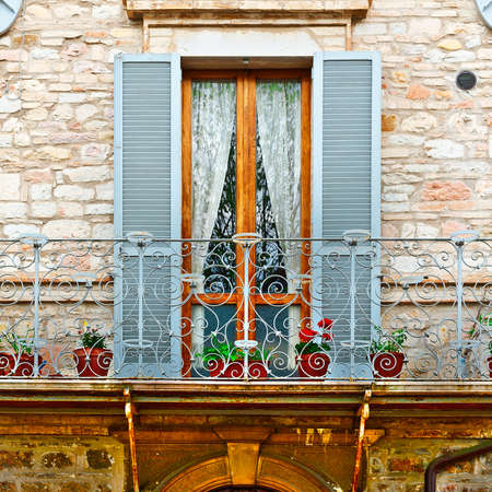 resplendence: Italian Balcony, Decorated With Fresh Flowers Stock Photo