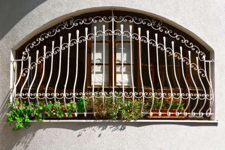 resplendence: Window Decorated with Flowers in Tel Aviv Stock Photo