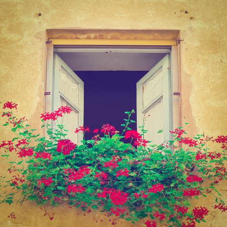 resplendence: Italian Window Decorated with Fresh Flowers,