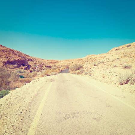 negev: Winding Asphalt Road in the Negev Desert in Israel,