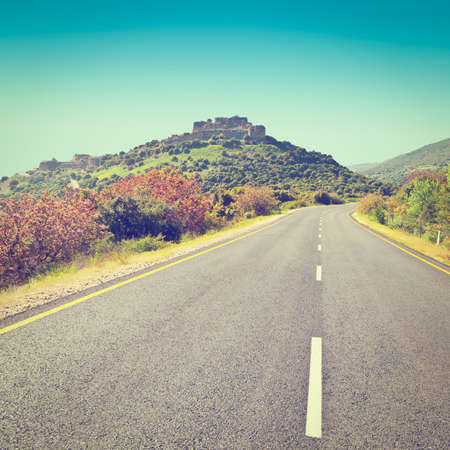 the golan heights: Asphalt Road in the Golan Heights, Instagram Effect