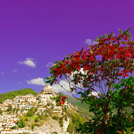 hilltop: Red Leaves on the Background of Medieval Italian City on a Hilltop