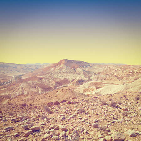 canyon negev: Canyon En Avedat of the Negev Desert in Israel at Sunset, Instagram Effect Stock Photo