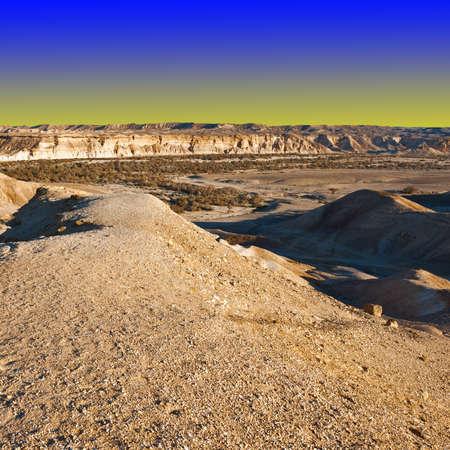 negev: Rocky Hills of the Negev Desert in Israel at Sunset