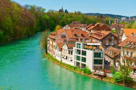 renewed: Aerial View to the Roofs of the City of Berne and River Aare in Switzerland Editorial