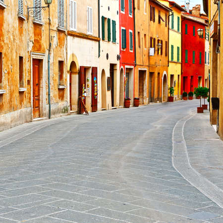 center city: Historical Center with Old Buildings in Italian Medieval City Stock Photo