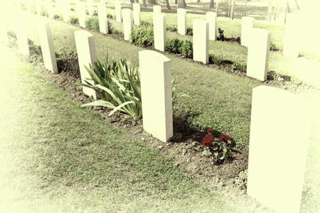 obelisk stone: Canadian Military Cemetery in Sicily, Italy, Retro Image Filtered Style