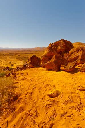 negev: Big Stones of Grand Crater in Negev Desert, Israel Stock Photo