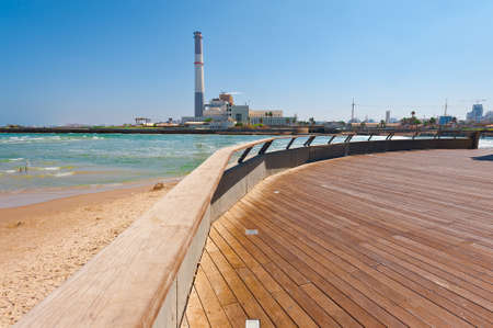 View of the Power Station from the Promenade of the Old Port in Tel Aviv 版權商用圖片
