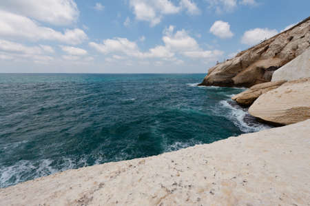 lebanon beach: Rosh Hanikra Cliff near Israeli- Lebanese Border