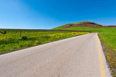 israel farming: Asphalt Road in the Golan Heights