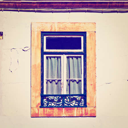 resplendence: Window of the Old Portugal House, Instagram Effect Stock Photo