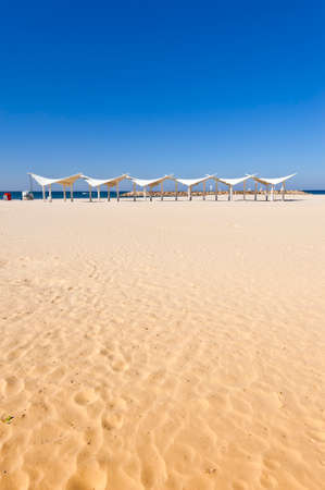 sunshade: Sunshade on the Beach of Mediterranean Sea in Israel Stock Photo