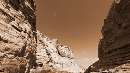 canyon negev: Canyon En Avedat of the Negev Desert in Israel, Vintage Style Sepia