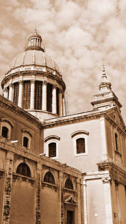 ragusa: Cathedral in the City of Ragusa in Sicily, Vintage Style Sepia Stock Photo