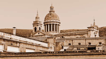ragusa: View to Cathedral in the City of Ragusa in Sicily, Vintage Style Sepia