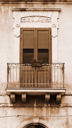 ragusa: Italian Window in Sicilian City of Ragusa, Vintage Style Sepia