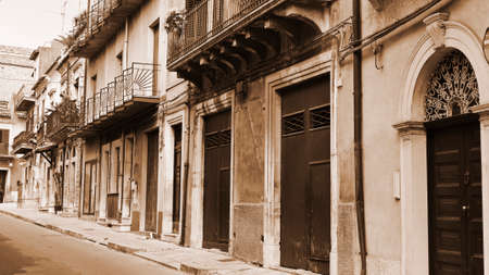 ragusa: View to Historic Center City of Ragusa in Sicily, Vintage Style Sepia
