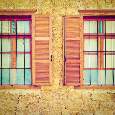 resplendence: Windows of Old Building after Reconstruction in Tel Aviv