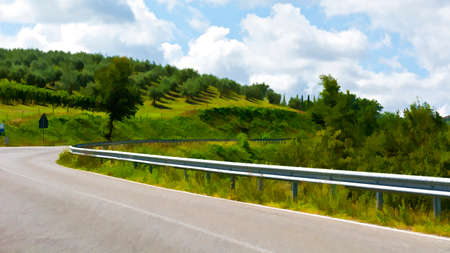 olive groves: Road Surrounded by Vineyards and Olive Groves, Stylized Photo Stock Photo