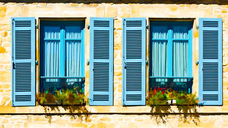 open windows: French Windows with Open Wooden Shutter Decorated with Fresh Flowers, Stylized Photo