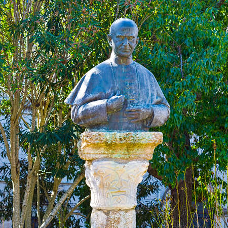 paulus: Bronze Bust of the Pope Paulus Sixth on the Mount Tabor in Israel