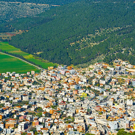 arab spring: Aerial View from Mount Tabor to Arab City and Jezreel  Valley in Israel