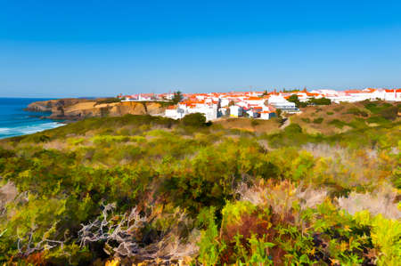 City on the Rocky Coast of Atlantic Ocean in Portugal, Stylized Photo
