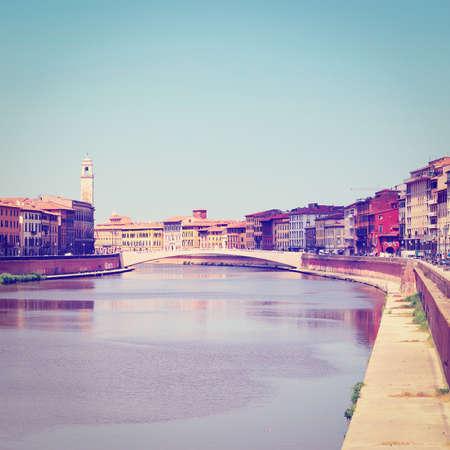 river arno: Embankment of the River Arno in Italian City of Pisa