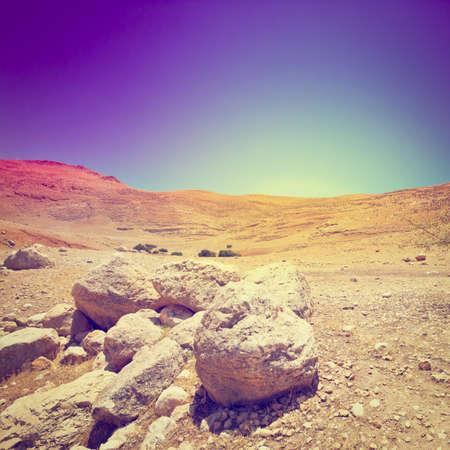 negev: Rocky Hills of the Negev Desert in Israel, Sunset Stock Photo