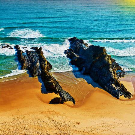 atlantic ocean: Rocky Coast of Atlantic Ocean in Portugal, Sunset